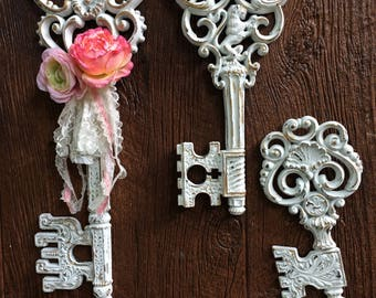 French Country wall KEYS, skeleton keys, shabby chic, roses, ribbon lace
