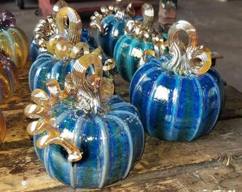 Blown Glass Silver Blue Pumpkin