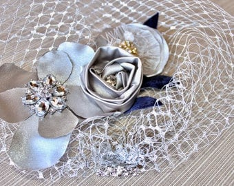 Silver platinum sparkly diamond headpiece birdcage veil - custom made to order