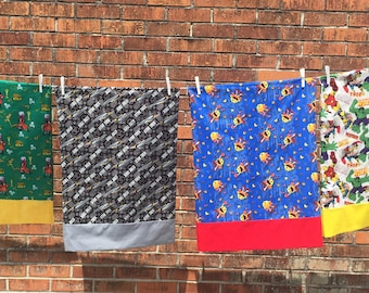 Father's Day Gift - Character Pillow Cases - Standard or Travel Size - Mario - Star Trek - TMNT - Tonka - Marvel Comics - Many More Fabrics