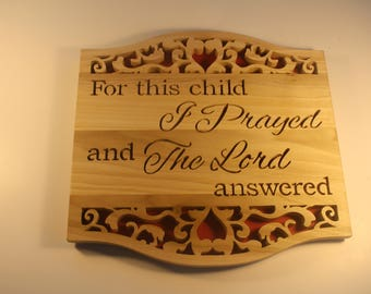 Christian Wall Scroll Saw Art  - Bible Verse Sign - New Mother Gift - Nursery Decor - 1 Samuel 1:27 - Baby Shower Gift- New Parent Gift