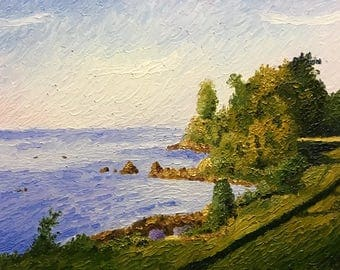 """Original Impressionist style Impasto oil painting """"The Long Shadow"""" 11x14"""