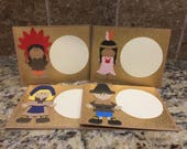 Thanksgiving Place Cards - Pilgrims and Indians - Sets of 8, 12, 16, or 20