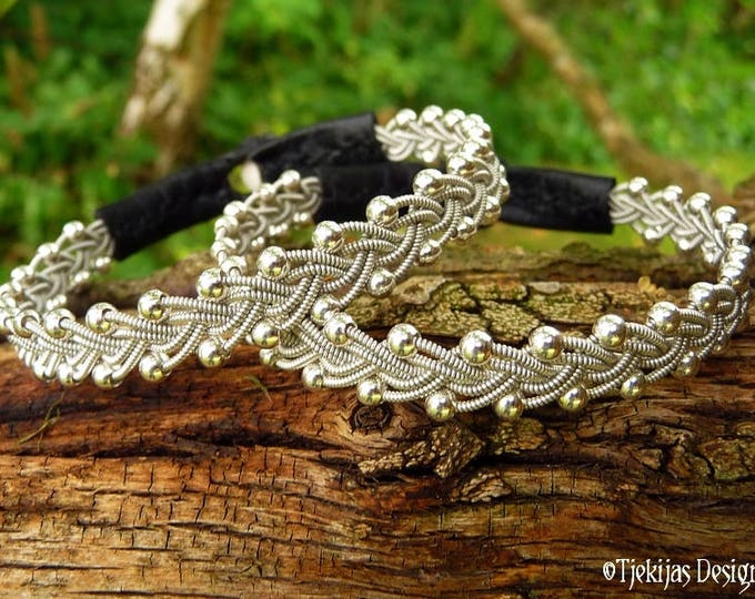 Sami Bracelet RIMFAXE Pewter and Black Leather Viking Bracelet for Men and Women - A Genuine Handcrafted Piece of the North
