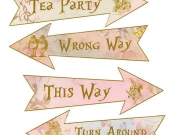 Alice in Wonderland Mad Hatter 4 arrows tea time party decoration
