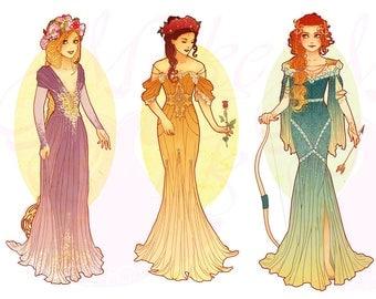 Full Set 1 Princesses Mucha Style CROSS STITCH PATTERNS Rapunzel, Belle, Merida, Original Art by Hannah Alexander
