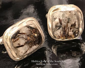 Astrophylite Gemstone Cuff Links, brown Cufflinks, handmade Cuff Links with Sterling Silver custom made Bezel, gift for men (CL11)