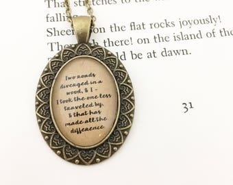 Two Roads Diverged. Literature Necklace. Robert Frost Necklace