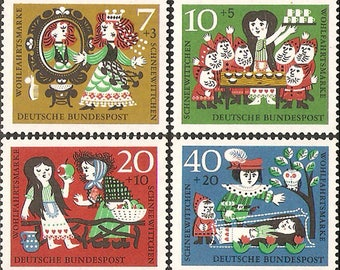 Snow White - Grimm Fairy Tales - 1962 FRG Stamp - 1 set - 4 Sheets - No Discount