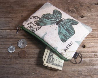 Change purse- Coin purse -  small zipper wallet in butterfly fabric has a keyring ,will fit all your cards and change.