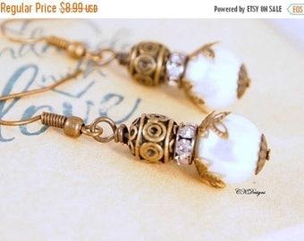CIJ Vintage Style Pearl Drop Earrings,  Timeless Pearl Drop Earrings, Brass Dangle Earrings, Pierced or Clip-on Earrings.  Handmade Earrings