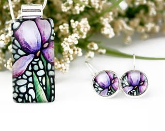 Iris Jewelry Set - Purple Iris Necklace & Earrings - Glass Pendant - Stained Glass Floral Jewelry - Art Nouveau Charm - Gift Idea for Her