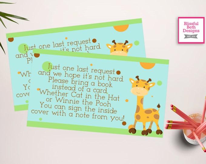 SAFARI BOOK INSERT Safari Printable Baby Shower Book Card, Safari Baby Shower Insert, Safari Book Insert, Safari Shower, Instant Download
