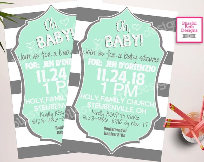 BABY SHOWER INVITATION, Striped Baby Shower Invitation, Striped Baby Shower Invite, Baby Shower Invitation, Baby Shower, Striped Baby Shower