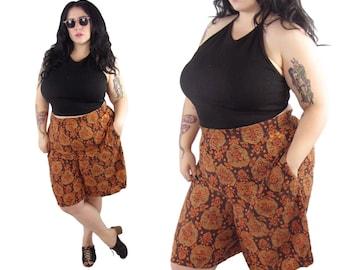 Plus Size 1980's Orange Rayon Shorts - Size 3X