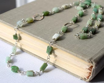 Long Chrysoprase Necklace, Soft Green Stone Necklace, Sterling Silver Wire Wrapped Necklace, Square Bead Chain Necklace, Moss Green Necklace