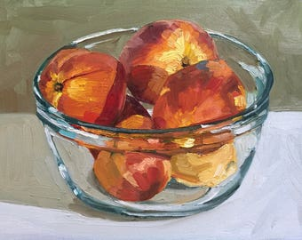 Peaches in a Glass Bowl