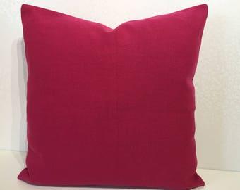 PINK linen cushion cover Magenta pillow Fuchsia linen pillow Cerise Pink square cushion Pink linen pillow Romo LINARA Petunia MoGirl DESIGNS