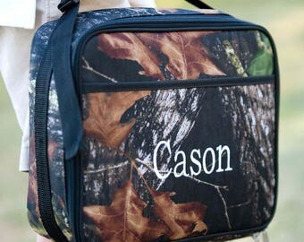 Personalized Camo Lunchbox - Monogrammed Lunchbox - Camouflage Lunch Bag ~ Woods Monogrammed Lunch Tote ~FREE Personalization~ Boys Lunchbox