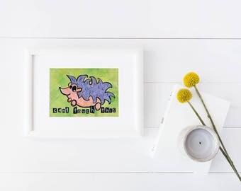 Cant Touch This   humor   hedgehog pun    artwork   pun   90s music   home decor   office art   music pun  