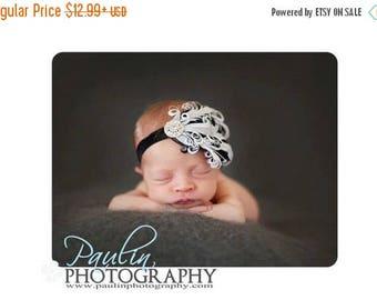 SALE Stunning Rhinestone Black & White Curled Goose Feathers on Black Headband - Photo Prop - Newborn Baby Toddler - No Slip