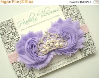 SALE Lavender Pink Double Chiffon Flower with Rhinestone Pearl Tiara Center Headband - Newborn Baby - Boho Chic - Photo Prop - Princess Head