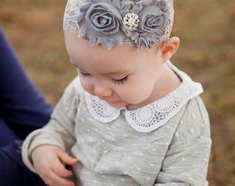 SALE SHOP BEST Seller - Beautiful Gray Chiffon Flowers with Rhinestone Center on Lace Headband - Newborn Baby - Wedding Flower Girl - Photo