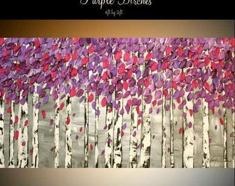 """SALE XL Contemporary Modern Purple Birch Trees Abstract Original 48"""" palette knife impasto oil painting by Nicolette Vaughan Horner"""