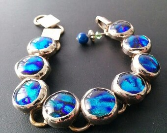 On Sale Vintage Chunky Rhinestone Blue Stone Bracelet - 1950's Collectible Foil Glass Cabochon Jewelry -