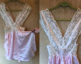LILY of FRANCE  Sexy PASTEL Pink Lace See Through Negligee V Neck Lingerie