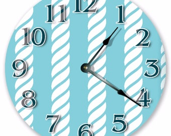 """10.5"""" Upward Pattern ROPE Clock - White and Blue Clock - Living Room Clock - Large 10.5"""" Wall Clock - Home Décor Clock - 3495"""