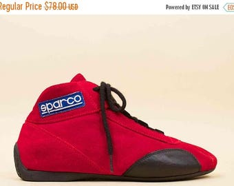 80s Vtg SPARCO Suede Leather Red + Black Racing Shoe / Lace Up Sneakers Hi Top Driving Italy EU 41 [Mens 8 | Wms 9.5 - 10]