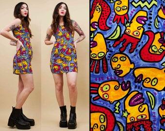 80s 90s Vtg Novelty 'Big Head Design' CARTOON Print Cotton Mini Shift Dress / Rainbow Colors Wearable Art Rugrat Pee Wee's Playhouse / Small