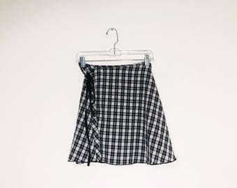 Black White Grunge Wrap Mini Skirt 90s Inspired OOAK
