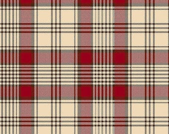 20 % off thru 7/4 WHISPERS OF WISDOM   red tan navy blue printed plaid Henry Glass Leeane Andersen quilters cotton fabric by the half yard 8