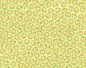 20 % off thru 7/4 SHEEPS & PEEPS-by the half yard by QT fabrics-tossed yellow chicks on green-25752-H Quilting Treasures