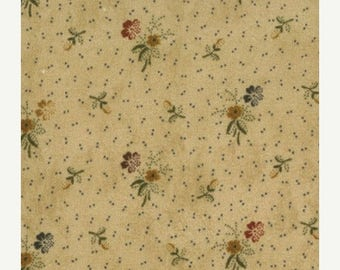 20 % off thru 7/4 moda fabric by 1/2 yard Kansas Troubles Quilters FAVORITES - tiny flowers on BUTTER tan  9165-11