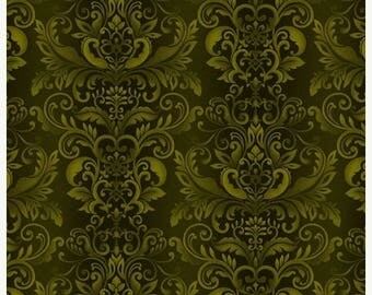 12% off thru July WELCOME HARVEST GREEN tonal swirls tone on tone Fall Autumn Henry Glass cotton fabric by the 1/2 yard