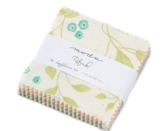 "15% off thru Mar.19th Mini Charm pack REFRESH from SANDY GERVAIS 42 2.5"" squares Moda cotton fabric beautiful fun bright citrus sunny floral"