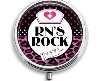 Pill Box Pill Case RNs Rock Nurse Theme Pill Holder Pill Container Trinket Box Vitamin Holder Medicine Box Mint Tin