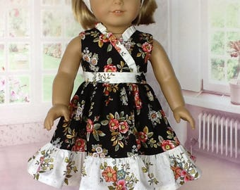 18 inch doll dress and headband. Fits American Girl Dolls. Black floral wrap dress.