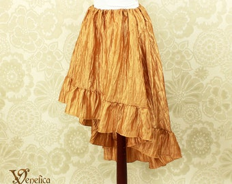 """Steampunk High Low Cecilia Skirt, Longer Length -- Honey Gold Crinkle Taffeta -- Ready to Ship -- Best Fits Up To 48"""" Waist"""