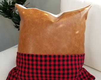 Buffalo Check and Faux Leather Pillow