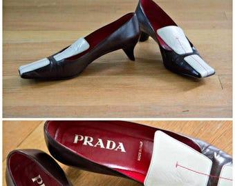 ON SALE Prada Leather Kitten Heels, Size 36