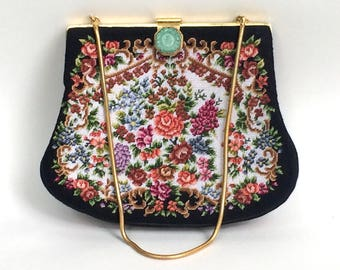 Petit Point Purse with Jade Clasp