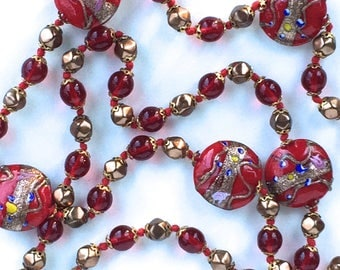 Murano Glass necklace Red Wedding Cake Beads