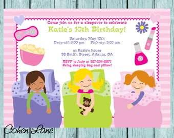 Pajama Party Invitation. Sleepover Party Invite. Slumber Party Invite.  Sleepover Invite.  Birthday Invitation.  Sleepover Invitation.
