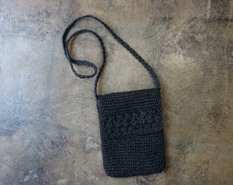 Black Woven Purse / Vintage Mini Sisal Bag / Natural Crossbody Handbag