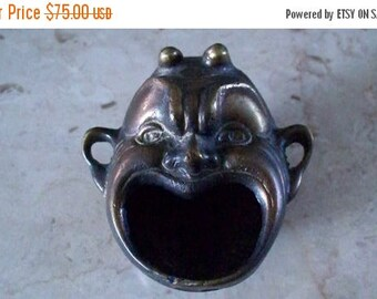 ON SALE BRONZE Face Incense Burner Ashtray Cast Bronze Brass Figural Face Art Whimsical Devilish Face