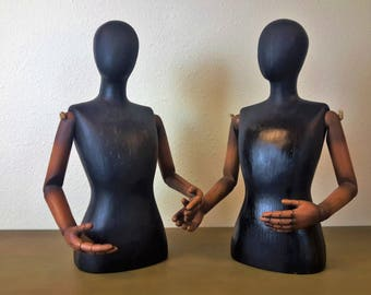 Pair Wooden Torso Display Figures Mannequin Jointed Moveable Arms Jewelry / Crafting Display